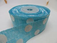 2 metres or Full Roll 25mm 38mm Baby Blue Vintage Hessian Large Polka Dot Ribbon 25 38 mm